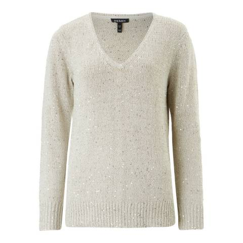 Baukjen Silver Grey Emelina V Neck Sequin Knit