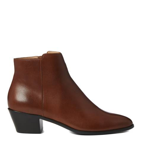 Hobbs London Tan Frankie Leather Western Ankle Boot