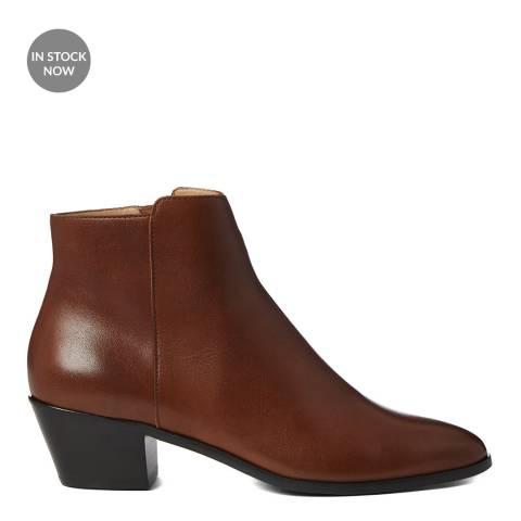 Hobbs London Tan Frankie Leather Western Ankle Boot