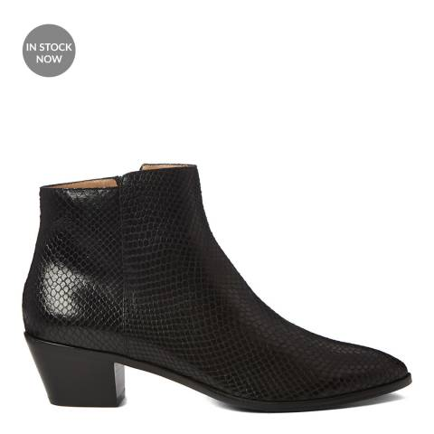 Hobbs London Black Snake Print Frankie Western Boot
