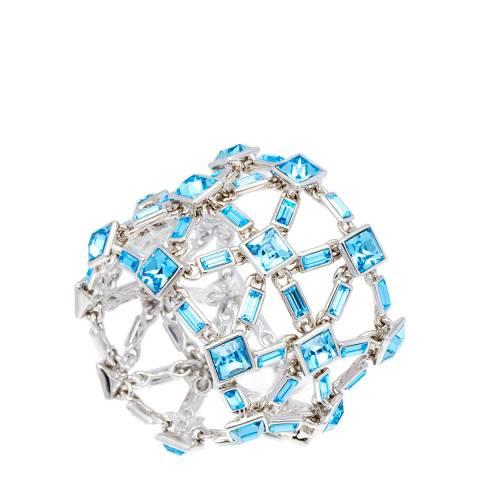 Simon Harrison Aquamarine Rhodium Claudette Crystal Bracelet