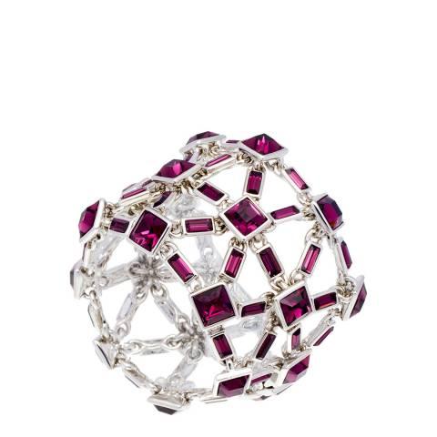 Simon Harrison Amethyst Rhodium Claudette Crystal Bracelet