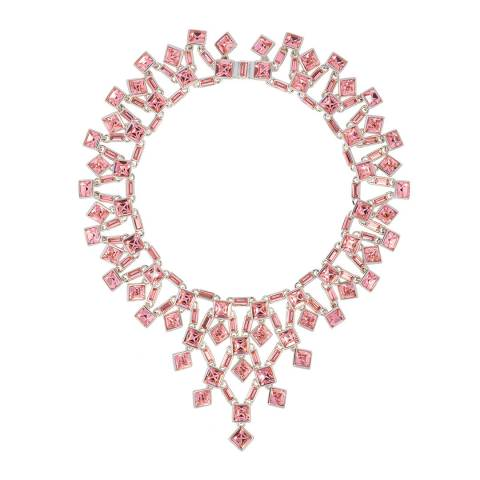 Simon Harrison Pink Rhodium Claudette Square Crystal Cluster Small Necklace