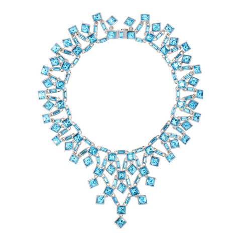 Simon Harrison Aquamarine Rhodium Claudette Square Crystal Cluster Small Necklace