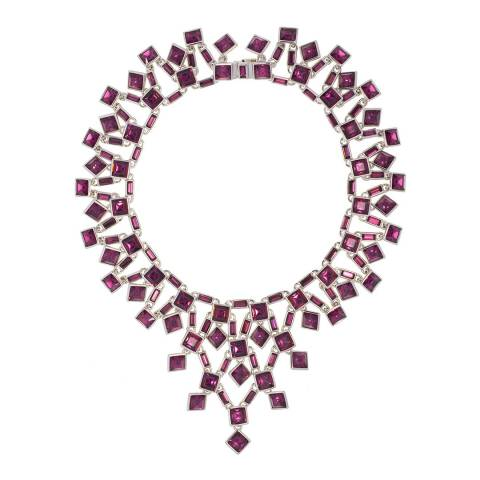 Simon Harrison Amethyst Rhodium Claudette Square Crystal Cluster Small Necklace