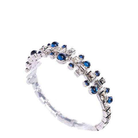Simon Harrison Blue Rhodium Ella Glass Cabochon And Crystal Bracelet