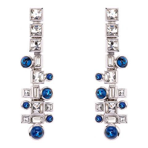 Simon Harrison Blue Rhodium Ella Glass Cabochon And Crystal Drop Earring