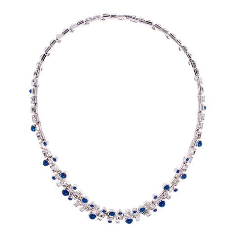 Simon Harrison Blue Rhodium Ella Glass Cabochon And Crystal Necklace