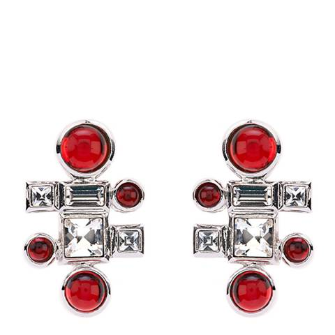 Simon Harrison Red Rhodium Ella Glass Cabochon And Crystal Stud Earring