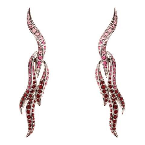 Simon Harrison Pink Rhodium Flaming Heart Crystal Drop Earring