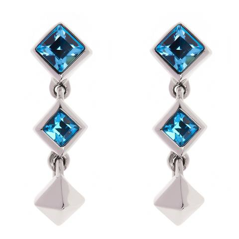 Simon Harrison Aquamarine Stainless Steel Tamara Short Drop Earrings