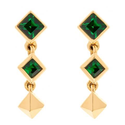 Simon Harrison Green Stainless Steel With Gold Plating Tamara Short Drop Earrings