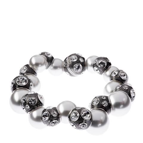 Simon Harrison Black Rhodium Valent Pearl And Crystal Set Enamel Bead Bracelet
