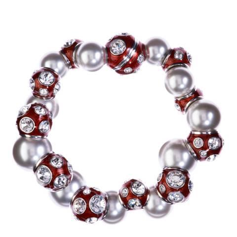 Simon Harrison Red Rhodium Valent Pearl And Crystal Set Enamel Bead Bracelet
