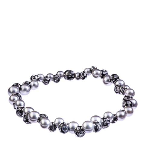 Simon Harrison Black Rhodium Valent Pearl And Crystal Set Enamel Bead Necklace
