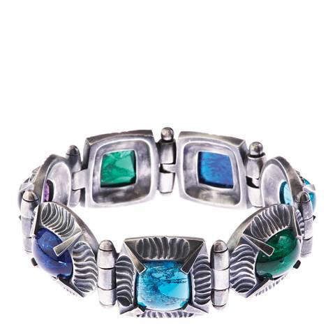 Simon Harrison Blue Multi Antique Silver Angevin Glass Cabochon Bracelet
