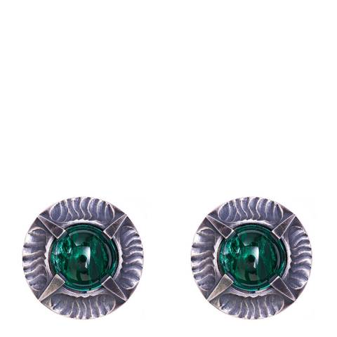 Simon Harrison Emerald Antique Silver Angevin Glass Cabochon Round Stone Earring