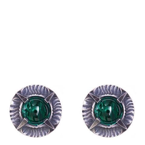 Simon Harrison Emerald Antique Silver Angevin Glass Cabochon Round Stone Earring