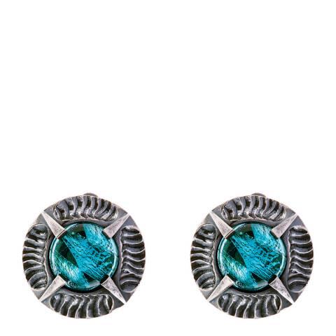Simon Harrison Aquamarine Antique Silver Angevin Glass Cabochon Round Stone Earring