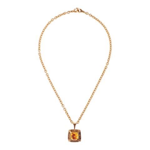 Simon Harrison Amber Gold Angevin Glass Cabochon Square Stone Pendant