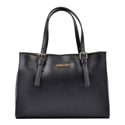 Isabella Rhea Black Leather Tote Bag