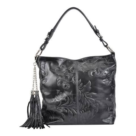 Isabella Rhea Black Leather Hobo Bag