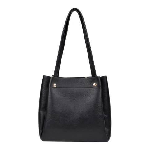 Isabella Rhea Black Shoulder Leather Bag
