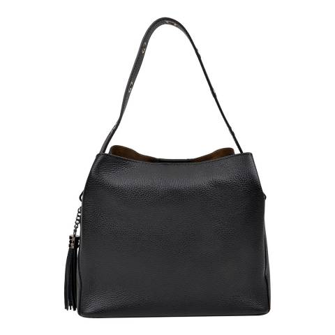 Isabella Rhea Black Leather Top Handle Bag
