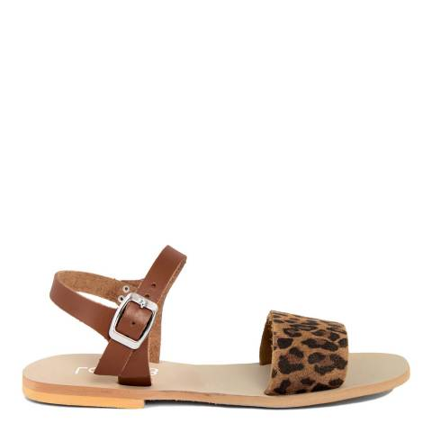 LAB78 Chocolate Brown & Leopard Print Leather Sandals