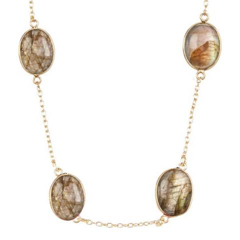 Liv Oliver 18K Gold Plated Labradorite Necklace