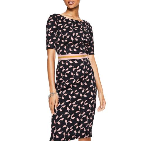 Boden Black Fleur Fitted Dress