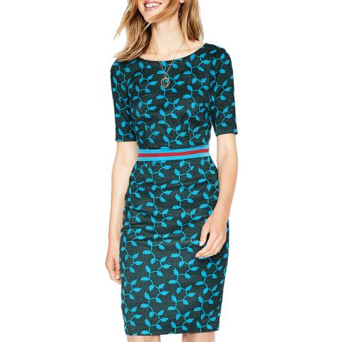 Boden Chatsworth Green Fleur Fitted Dress