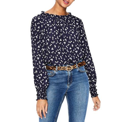 Boden Navy Blossom Small Sadie Silk Top