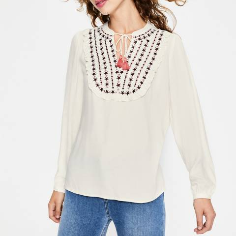 Boden Ivory Polly Embroidered Top