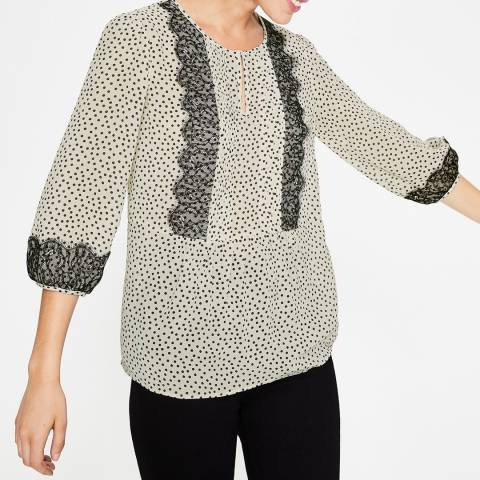 Boden Ivory Scattered Spot Cynthia Top
