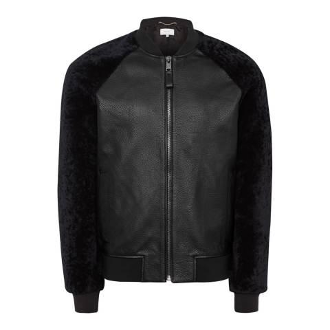 Reiss Black Bambrough Leather Bomber Jacket