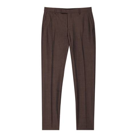 Reiss Mahogany Hollidge Slim Wool Suit Trousers