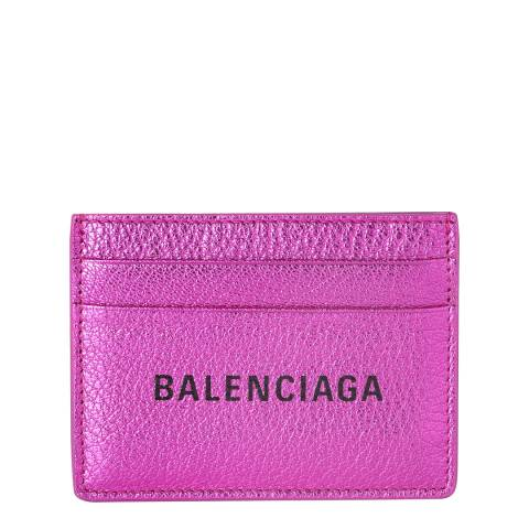 Balenciaga Metallic Pink Simple Card Holder