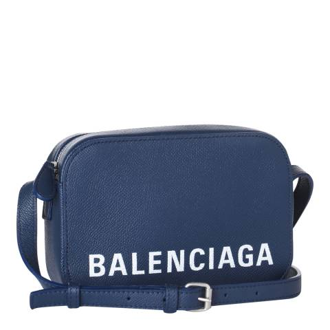 Balenciaga Navy Blue Logo Camera Bag