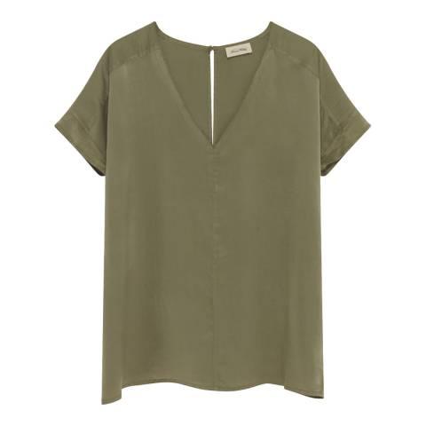 American Vintage Green V Collar Short Sleeves Oversized Long Top