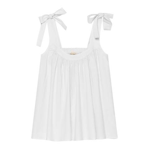 American Vintage White Round Collar Straps Oversize Short Top