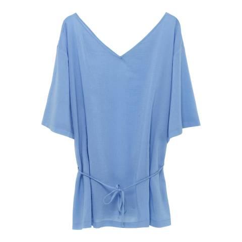 American Vintage Blue V Collar Short Sleeves Oversized Short Top