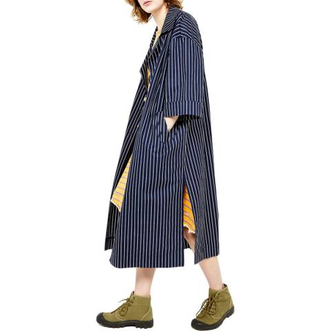 American Vintage Navy Buttoned Long Sleeves Oversized Belted Printed Long Trench