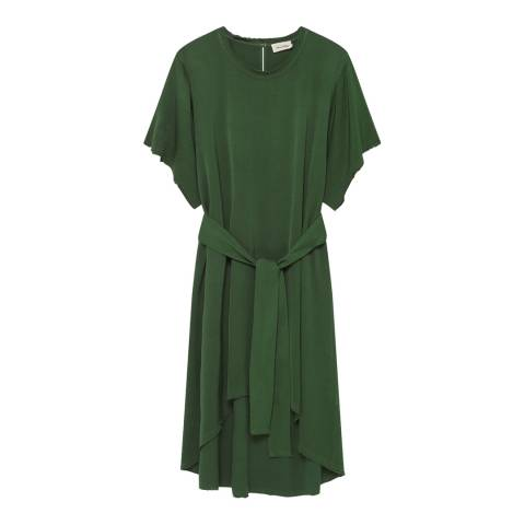 American Vintage Green Round Collar Short Sleeves Oversized Dress