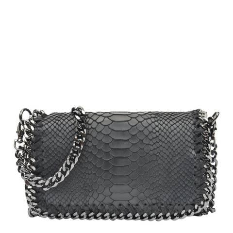 Luisa Vannini Black Snakeskin Shoulder Bag