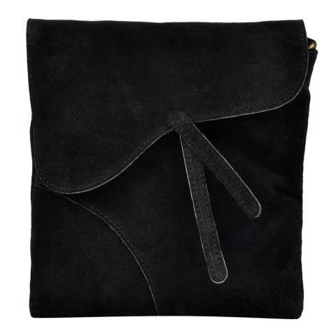 Luisa Vannini Black Suede Leather Shoulder Bag