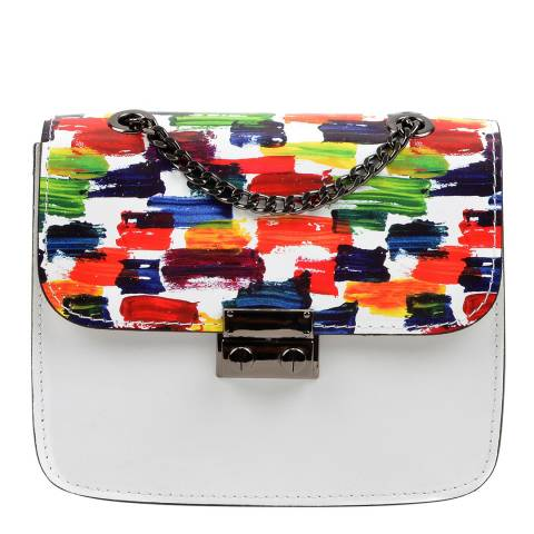 Luisa Vannini Multi White Patterned Shoulder Leather Bag