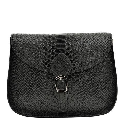 Luisa Vannini Black Snake Leather Shoulder Bag