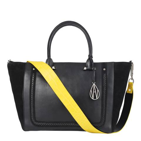 Amanda Wakeley Black/Sand Croc Johansson Tote Leather Bag