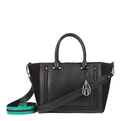 Amanda Wakeley Black/Emerald Croc Johansson Tote Leather Bag